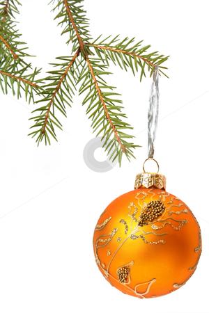 Christmas tree bauble stock photo, Christmas Tree and Bauble. Isolated on white by Olga Lipatova