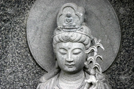 Statue in a temple stock photo,  by Giancarlo Liguori