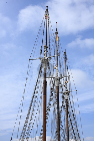 3 mast stock photo, 3 mast without sails but with ropes by ARPAD RADOCZY