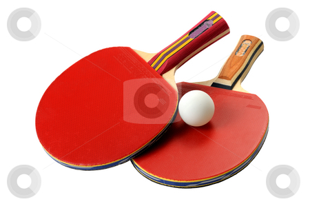 Table Tennis rackets stock photo, Two red table tennis rackets and ball. by Vladimir Blinov