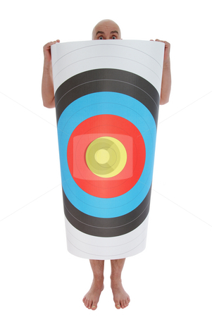 Man with target stock photo, Bald man with target on white background by Jolanta Dabrowska