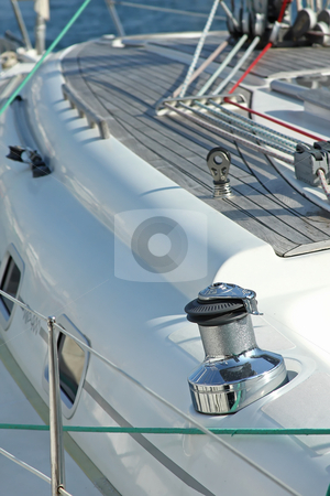 Detail of a sailboat stock photo, Detail of a modern yacht decks by ARPAD RADOCZY