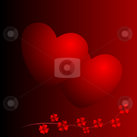 Two hearts and flowers stock photo, Two hearts and flowers on red background by Alina Starchenko