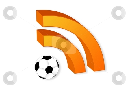 RSS symbol with soccer ball stock photo, Illustration of a RSS symbol with a soccer ball by Oliver Klimek
