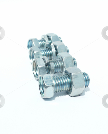 Bolts with nuts and washers stock photo, Bolts with nuts and washers on white by Nataliya Taratunina