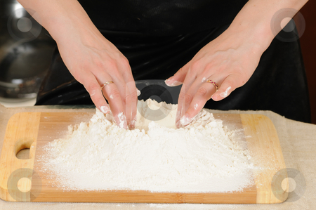 Baking stock photo, Preparation of the test for a baking of rolls by Salauyou Yury