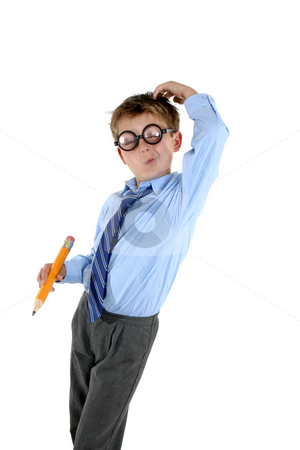 Child scratching his head for an answer stock photo, A young school boy in comical nerd glasses scratches his head by Leah-Anne Thompson