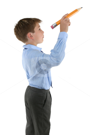 Student holding a pencil about to write stock photo, Student with a pencil about to write a message by Leah-Anne Thompson