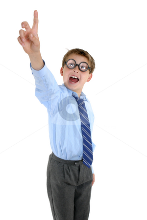 Crazy schoolboy with an answer stock photo, A humorous student in nerdy glasses with hand outstretched - solutions answers by Leah-Anne Thompson