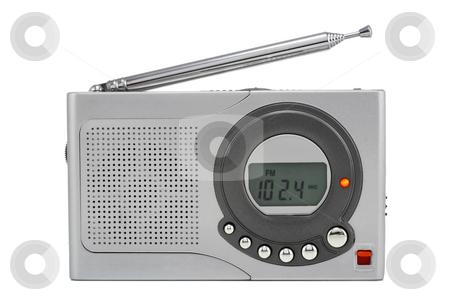 Silvery tiny radio stock photo, Very tiny silvery digital radio with the thick aerial. Isolated on white. by Aleksandr Volokov