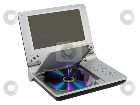 Compact dvd player with disc stock photo, Small-sized portable personal DVD Player with an open cover. DVD  disk is inserted. Mass production. Isolated on white. by Aleksandr Volokov