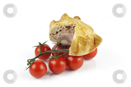 Tomatoes and Pork Pie  stock photo, Contradiction between healthy food and junk food using tomatoes and a pork pie on a reflective white background by Keith Wilson