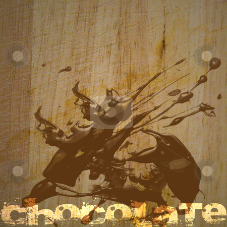 Grunge Background with Chocolate Text stock photo, Grunge brown dirty looking background with chocolate stain and text with copy space by Keith Wilson
