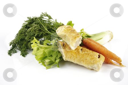 Sausage Roll with Carrots and Celery stock photo, Contradiction between healthy food and junk food using a bunch of carrots and celery with a sausage roll on a reflective white background by Keith Wilson
