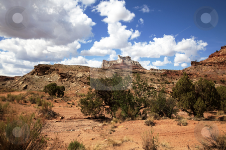 San Rafael Swell stock photo, View of the red rock formations in San Rafael Swell with blue sky by Mark Smith
