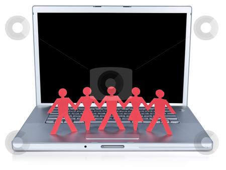 Modern communication stock photo, Red paper men and women holding hands over a laptop computer. by Ignacio Gonzalez Prado