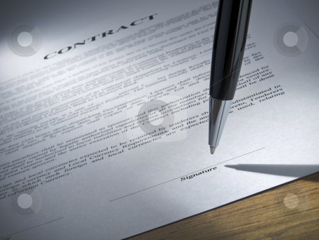 Sign here please stock photo, Close up of a pen about to sign the contract. by Ignacio Gonzalez Prado