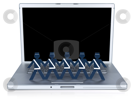 Computer security stock photo, Paper policemen holding hands over a laptop computer. by Ignacio Gonzalez Prado