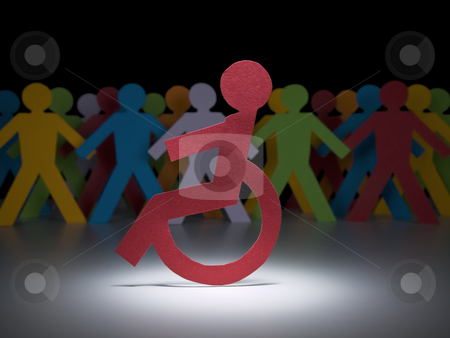 Disable paper figure stock photo, A disable paper figure stands under the spotlight on his wheelchair. by Ignacio Gonzalez Prado