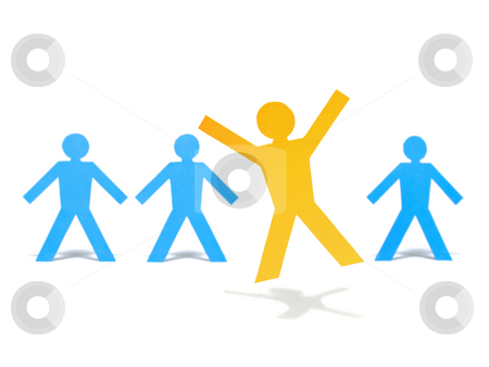 Happy jump stock photo, A yellow paper figure is celebrating a step forward from the blue paper figures. by Ignacio Gonzalez Prado