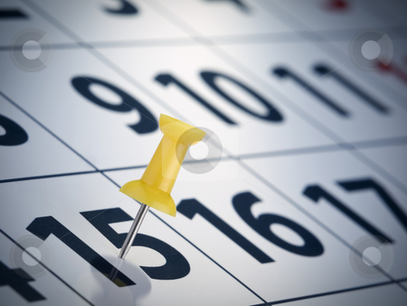 Tax day reminder stock photo, A yellow push pin on the 15th day of a calendar. by Ignacio Gonzalez Prado