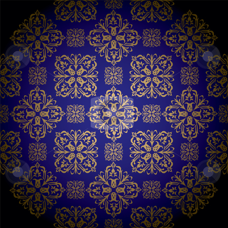 Golden royal blue stock vector clipart, Blue and gold royal wallpaper with seamless repeat pattern by Michael Travers
