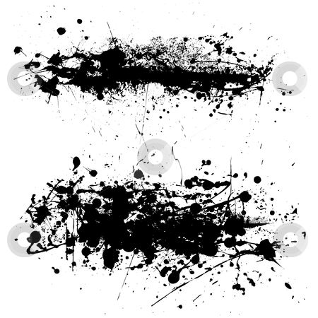 Splat string stock vector clipart, Two abstract black and white ink splat with grunge effect by Michael Travers