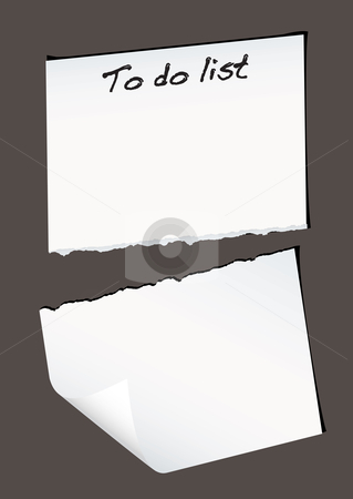 Torn to do stock vector clipart, Single piece of white paper torn in half with to do list by Michael Travers