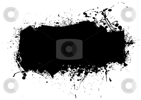 Blk grunge splat stock vector clipart, Black ink splat abstract background with room to add text by Michael Travers