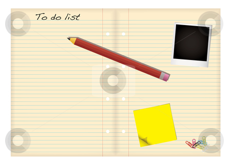 Grunge paper to do list stock vector clipart, Grunge paper with to do list and pencil with stationery elements by Michael Travers