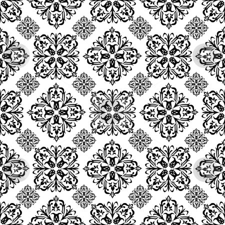 Floral wallpaper black stock vector clipart, Mono black wallpaper with seamless repeating pattern with white background by Michael Travers