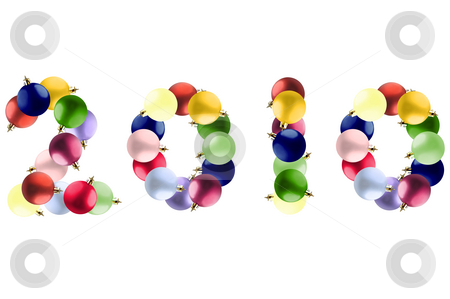 New year made of colorful Christmas balls. stock photo, New year made by colorful Christmas balls over white. by Liana Bukhtyyarova