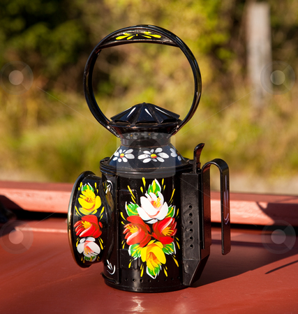 Hand painted traditional decorated oil lamp stock photo, Canal life in England with traditionally decorated tools on display by Steven Heap