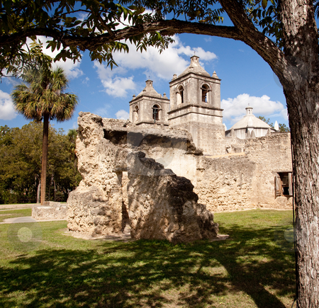 San Antonio Mission Concepcion in Texas stock photo, View of the ruined walls surrounding the Concepcion Mission near San Antonio in Texas by Steven Heap