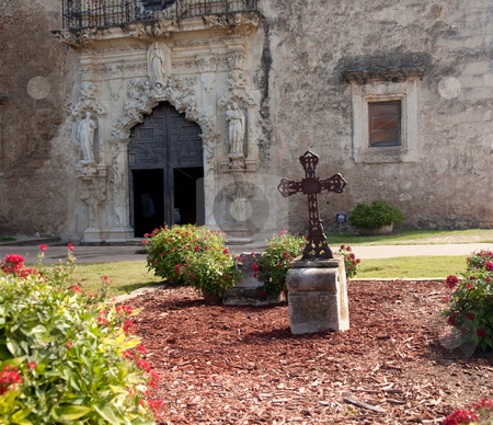 San Antonio Mission San Juan in Texas stock photo, View of the garden and cross in front of the Mission Espada near San Antonio in Texas by Steven Heap