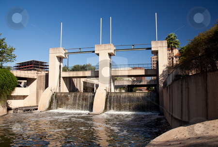 Dam on the river in San Antonio stock photo, Concrete construction aimed at controlling flooding of San Antonio River and the walk by Steven Heap