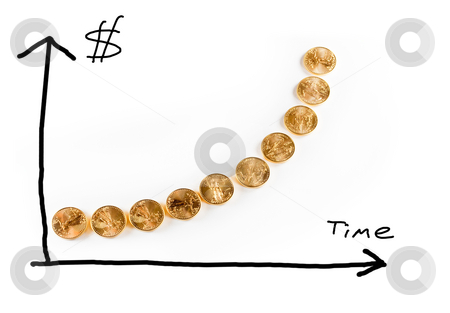 Graph of gold coins showing value stock photo, Hand drawn graph of the price of gold over time using golden eagle coins as the graph line by Steven Heap