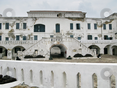 Elmina Castle in Ghana entrance stock photo, Elmina Castle was the exit port for slaves from Ghana in Africa. This is the entrance to the cells by Steven Heap