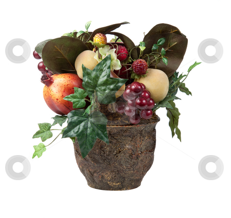 Fruits in Xmas centerpiece stock photo, Various fruits in an arrangment in a vase for Christmas decoration by Steven Heap