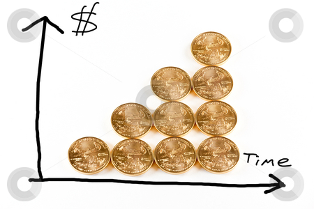 Gold coins forming a graph stock photo, Graphical picture of the rising price of gold using gold coins to form the graph itself by Steven Heap
