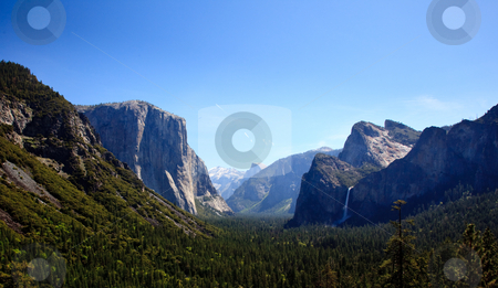 Yosemite Valley with waterfalls stock photo, Overview of Yosemite valley on clear blue sunny day by Steven Heap