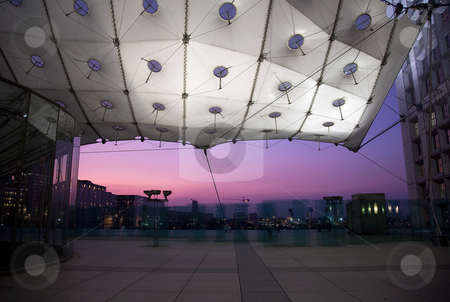 La Grande Arche in La Defense in Paris at sunset stock photo, La Grande Arche in La Defense in Paris taken as the sun was setting behind the central opening by Steven Heap