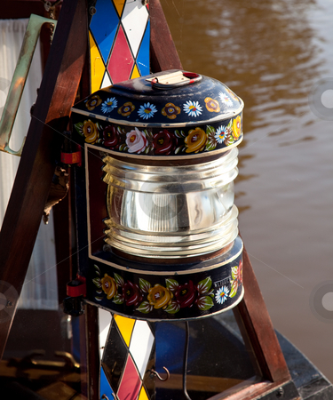 Hand painted traditional decorated driving lamp stock photo, Canal life in England with traditionally decorated lamp on display by Steven Heap