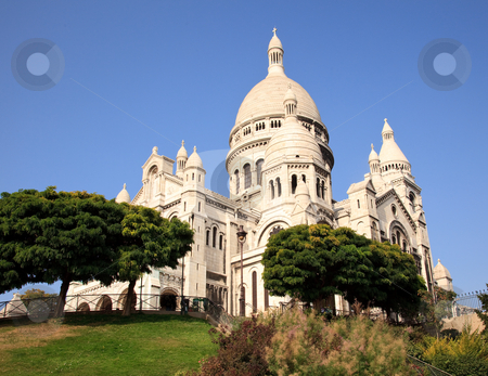 View up towards the Sacre Coeur Cathedral on Montmartre stock photo, Montmartre hill leads towards the Sacre Coeur church in Paris by Steven Heap