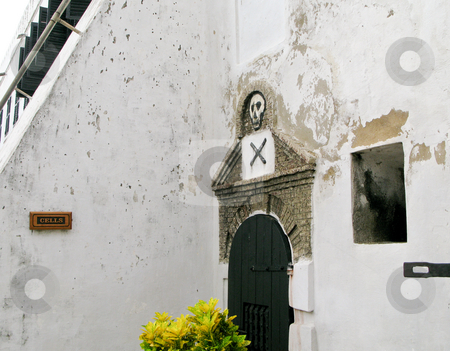 Entrance to slave cells at Elmina Fort in Ghana stock photo, Elmina Castle was the exit port for slaves from Ghana in Africa. This is the entrance to the cells by Steven Heap