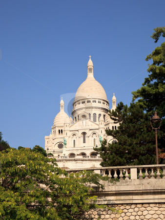 View up towards the Sacre Coeur Cathedral on Montmatre stock photo, Montmartre hill leads towards the Sacre Coeur church in Paris by Steven Heap