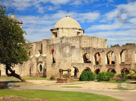 San Juan Mission in Texas stock photo, View of the garden and well in front of the San Juan Mission near San Antonio in Texas by Steven Heap