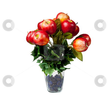 Apple centerpiece for Christmas stock photo, Glass vase holding apples in an arrangement for a center piece on a table decoration by Steven Heap