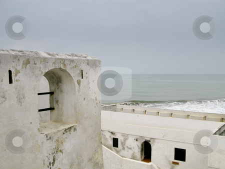 Elmina Castle in Ghana near Accra stock photo, Elmina Castle was the exit port for slaves from Ghana in Africa. This shows the roof and battlements by Steven Heap