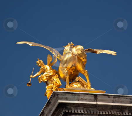 Unusual shot of the rear of golden horse stock photo, Rear view of a golden horse on Pont Alexandre in Paris - could be used for humorous reference by Steven Heap